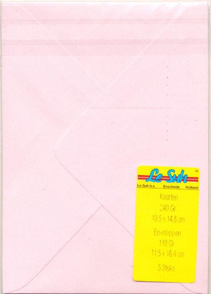 Le Suh A6 kaarten met enveloppen hamerslagpapier lichtroze 5 stuks (Locatie: K3)