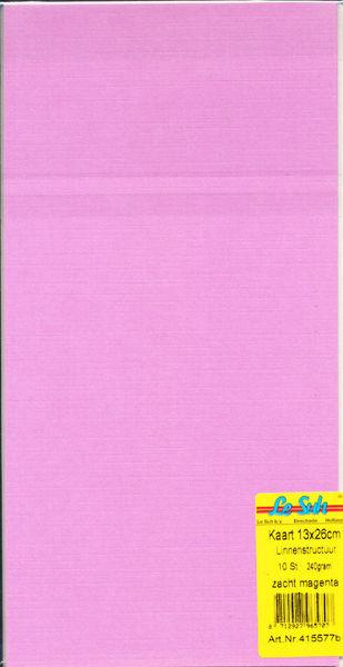 Le Suh kaarten 13x26cm linnenstructuur zacht magenta 10 stuks 415577B (Locatie: S1)
