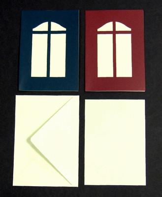 Le Suh passepartout kaart kerstvenster bordeauxrood, beige inlegvel en envelop A5 5 stuks 690391 (Locatie: K3)