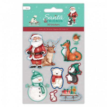 Papermania 3D stickers kerstmis, 8 stickers, PMA801905 (Locatie: 5844)