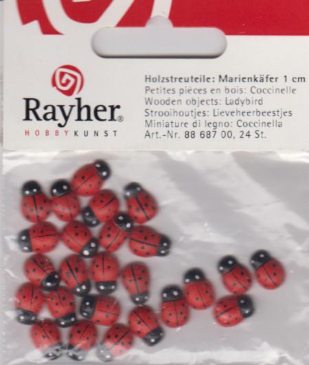 Rayher houten lieveheersbeestjes 24 stuks 88 687 00 (Locatie: 1C)