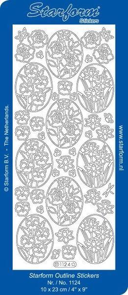 Starform sticker zilver bloemen 1124 (Locatie: T161 )