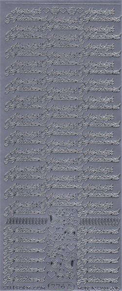 Starform stickervel hartelijk gefeliciteerd zilver 226 (Locatie: bb141)