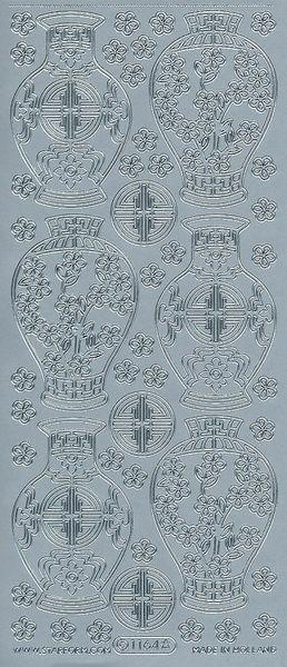 Starform stickervel vaas zilver 1164 (Locatie: u194)