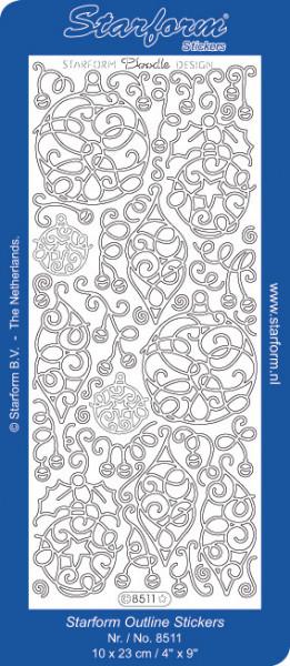 Starform stickervel zilver kerst 8511 (Locatie: T002)