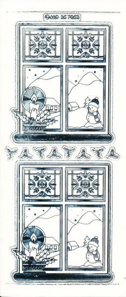 Stickervel raam met kaars transparant zilver MD357053 (U256)