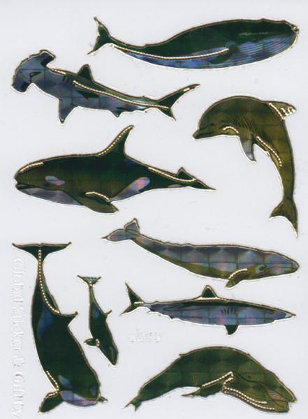 Stickervel zeedieren holografisch (Locatie: h183)