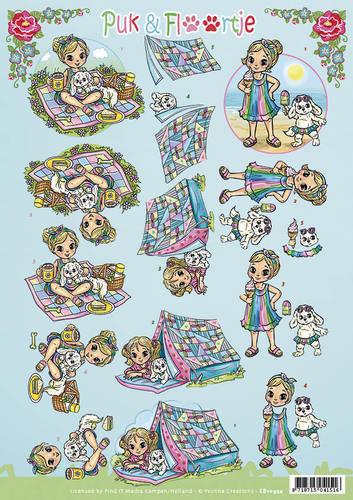 Yvonne Creations knipvel Puk en Floortje picknick CD10954 (Locatie: 4528)