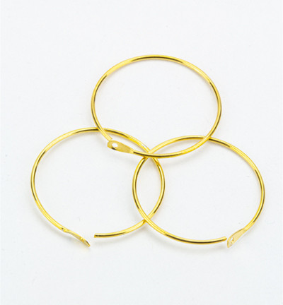 6x Oorhanger, rond goudkleur, diameter: 20 mm
