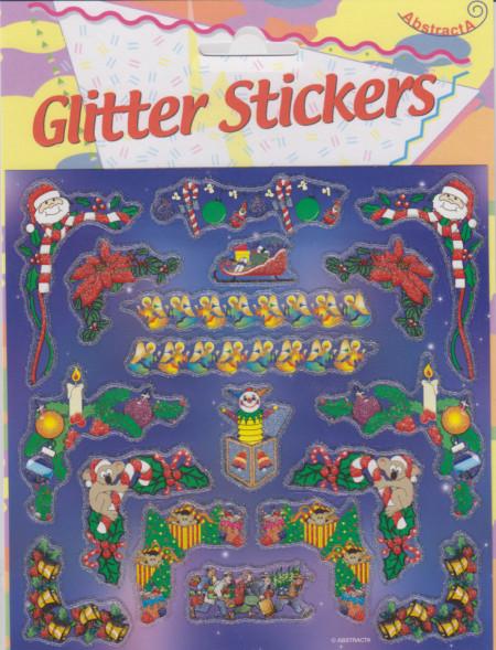Abstracta glitter stickers kerstmis (Locatie: 0921)