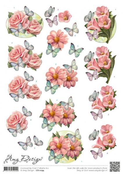 Amy Design knipvel bloem met vlinder CD11094 (Locatie: 1573)