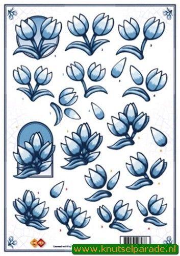 Card Deco knipvel Delfts blauwe tulpen CD 10063 (Locatie: 4420)