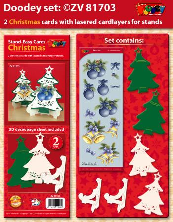Doodey kaartenpakket 2 staande kerstboomkaarten ZV81703 (Locatie: 4532)