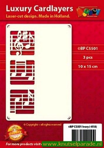 Doodey oplegkaarten notenbalk 3 stuks ivoor BPC5501 (Locatie: K120)