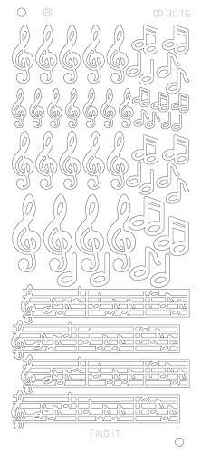 Find It stickervel glanzend zilver muzieknoten CD3076 (Locatie: k007)