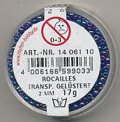 Rayher rocailles 2 mm transp. donkerblauw 17 gr. 1406110 (Locatie: K3)