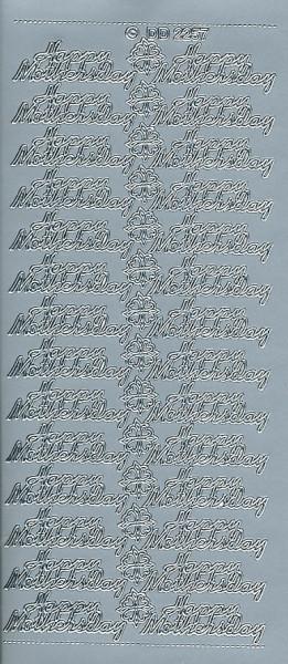 Stickervel Happy Mothersday zilver DD2257 (Locatie: F017)