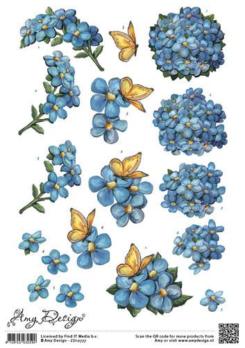Amy Design knipvel bloem met vlinder CD10777 (Locatie: 2312)