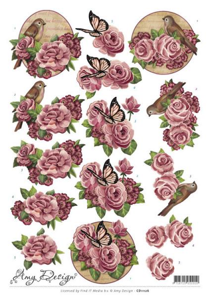 Amy Design knipvel bloemen en vogels CD11126 (Locatie: 2729)