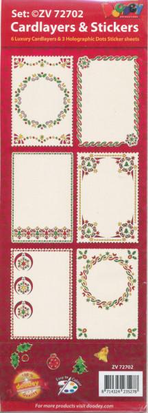 Doodey kerst-oplegkaarten ivoor en stickers om de oplegkaarten te versieren ZV72702 (Locatie: 5640)