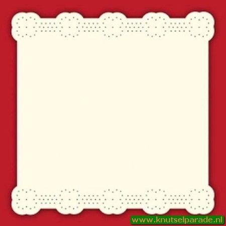 Doodey oplegkaart met borduurpatroon ivoor vierkant 3 stuks BEM 5902 (Locatie: K032)