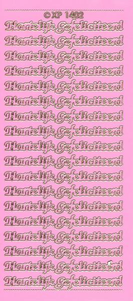 Doodey stickervel hartelijk gefeliciteerd roze XP1402 (Locatie: L234)
