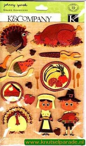K&Company scrapbook sticker set thanksgiving 546158 (Locatie: N203)