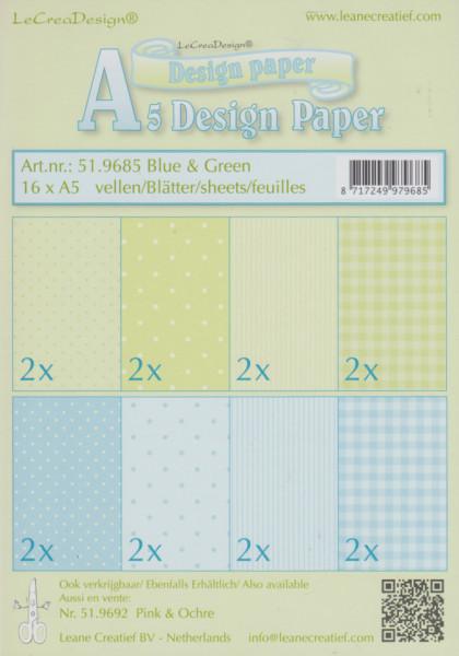 Le Crea Design, design paper, blue & green, A5 51.9685 (Locatie: s2)