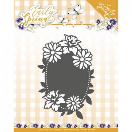 Precious Marieke snij- en embosmal Early Spring - Spring Flowers Oval Label PM10114 (Locatie: M051)