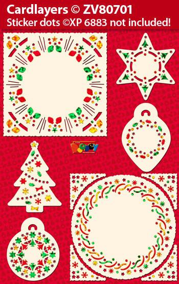 Set oplegkaarten Kerstmis voor Holografische Stickers ZV80701 (voor stickers XP6883) (Locatie: 4501)
