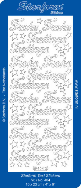 Starform sticker Frohe Festtage glitter rood 464 (Locatie: J569)