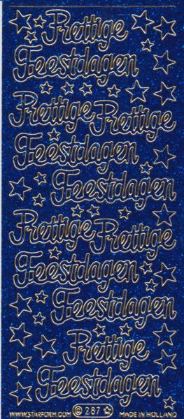 Starform sticker glitter blauw prettige feestdagen 287 (Locatie: h195)