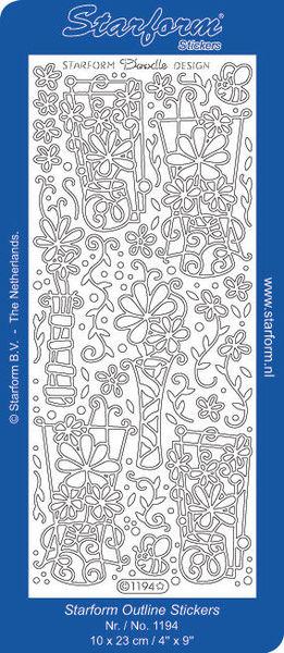 Starform stickervel bloemen zilver 1194 (Locatie: U290 )
