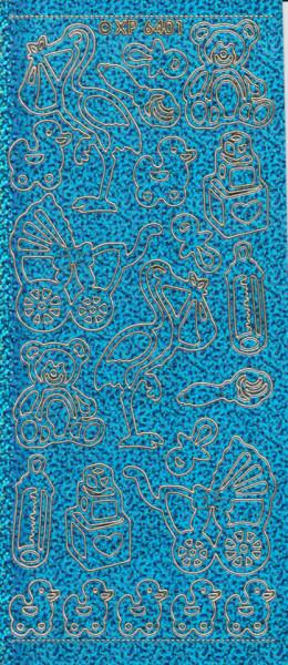 Stickervel holografisch blauw geboorte XP6401 (Locatie: B065)