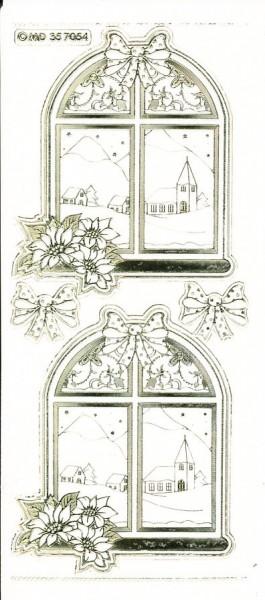 Stickervel raam met kerstster transparant goud MD357054 (U257)