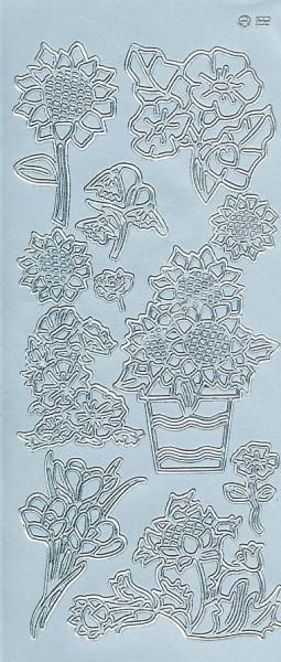 Stickervel zilver bloemen 182 (Locatie: e109)
