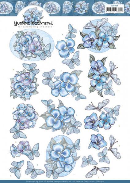 Yvonne Creations knipvel blauwe bloemen en vlinders CD11417 (Locatie: 2578)