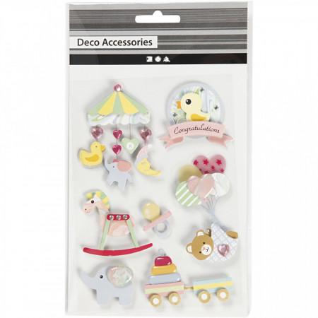 3D stickers, h: 25-70 mm, b: 20-55 mm, baby, 8stuks, dikte 7 mm (Locatie: 2432)