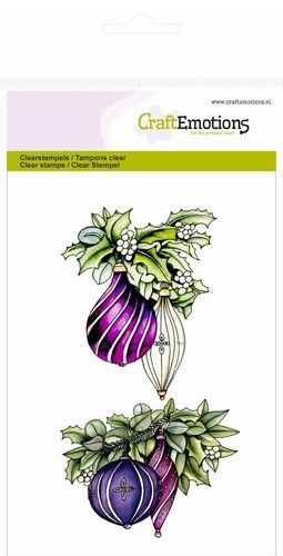 CraftEmotions clearstamp A6 takken met kerstballen Purple Holiday 130501/1051 (Locatie: NN009)