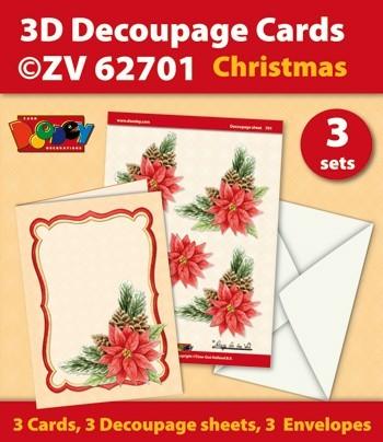 Doodey kaartenpakket om 3 kerstkaarten te maken ZV62701 (Locatie: 4421)