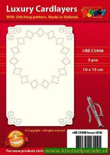 Doodey oplegkaarten met borduurpatroon A6 circel 3 stuks ivoor BEC5908 (Locatie: K047)