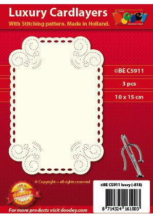 Doodey oplegkaarten met borduurpatroon krul in hoek 3 stuks ivoor BEC5911 (Locatie: K050)
