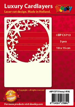 Doodey oplegkaarten raam met ijskristallen A6 ivoor 3 stuks BPC5713 (Locatie: K051)