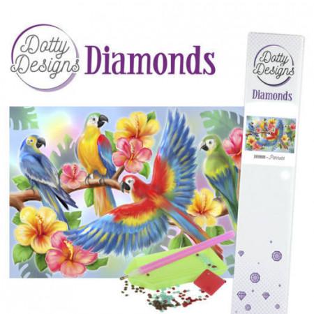 Dotty Degins Diamond Painting pakket, papegaaien
