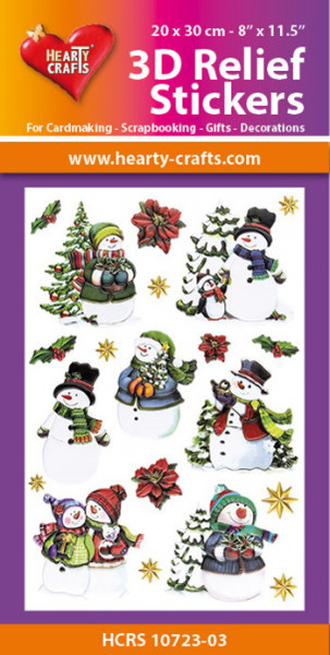 Hearty Crafts 3D Relief Stickers Snowmen A4 HCRS10723-03 (Locatie: 2251)