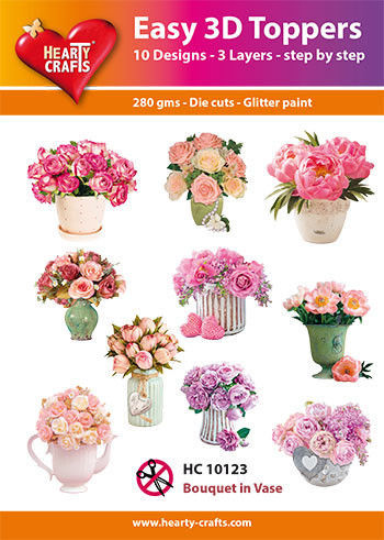 Hearty Crafts Easy 3D Toppers Flower Bouquet in Vase HC10123 (Locatie: K2)
