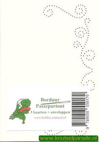 Hobbycentraal 3 borduurkaarten en enveloppen wit, gekrulde rand (Locatie: K164)