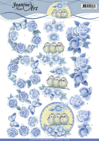 Jeanine's Art knipvel blauwe rozen CD11042 (Locatie: 2425)