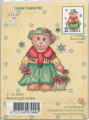 Leane Creatief clear stamp Bearie's girl winter 559005 (Locatie: E324)