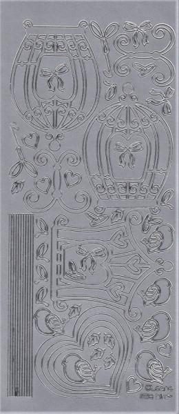 LeCrea Design vogelkooi sticker zilver 61 8756 (Locatie: A333)